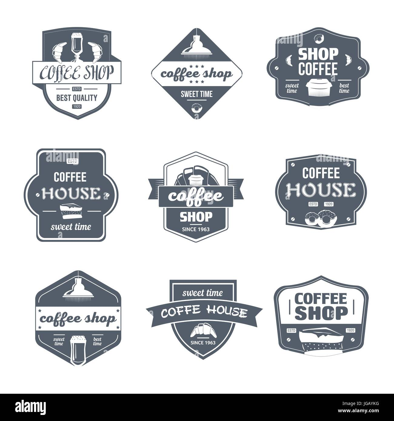 coffee house vector set of vintage template logo insignias old