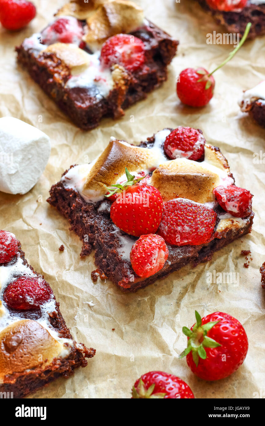 Chocolate Brownies with Strawberries and Marshmallows - Stock Image