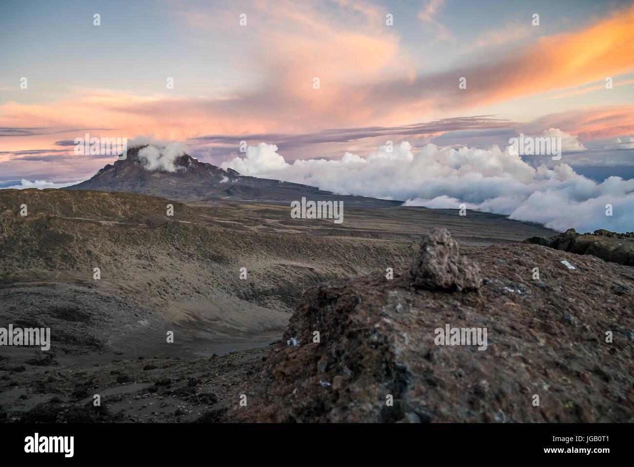 Mawenzi Peak - second highest volcanic cones of Mount Kilimanjaro, Tanzania, Africa - Stock Image