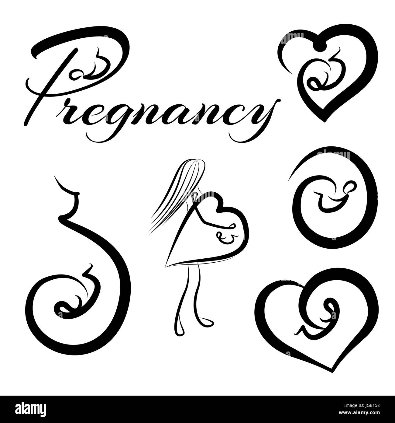 Logotypes collection of pregnancy and embryo. Vector illustration. - Stock Vector