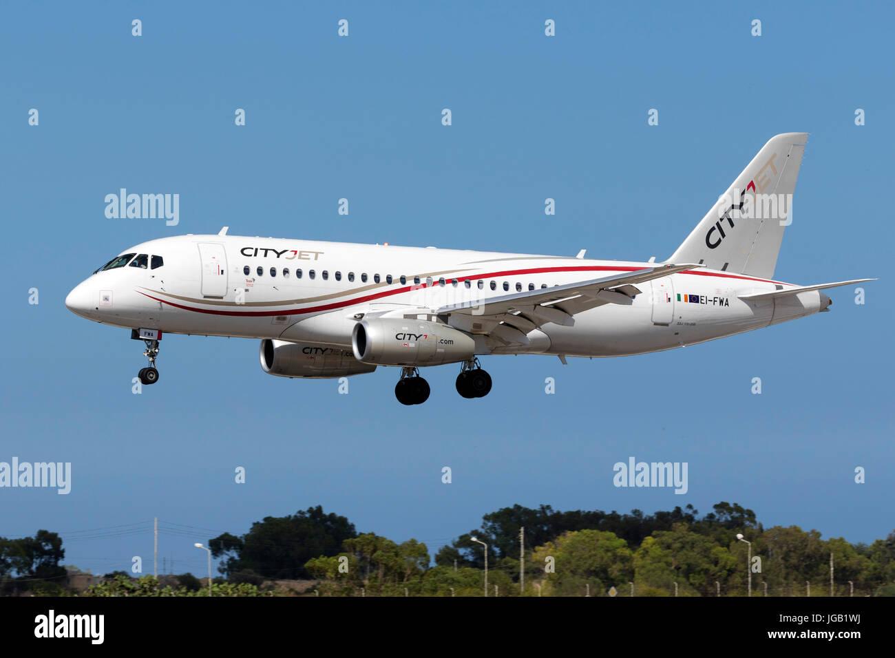 CityJet Sukhoi SSJ-100-95B Superjet 100 (RRJ-95B) [EI-FWA] landing runway 31, arriving from the UK. - Stock Image