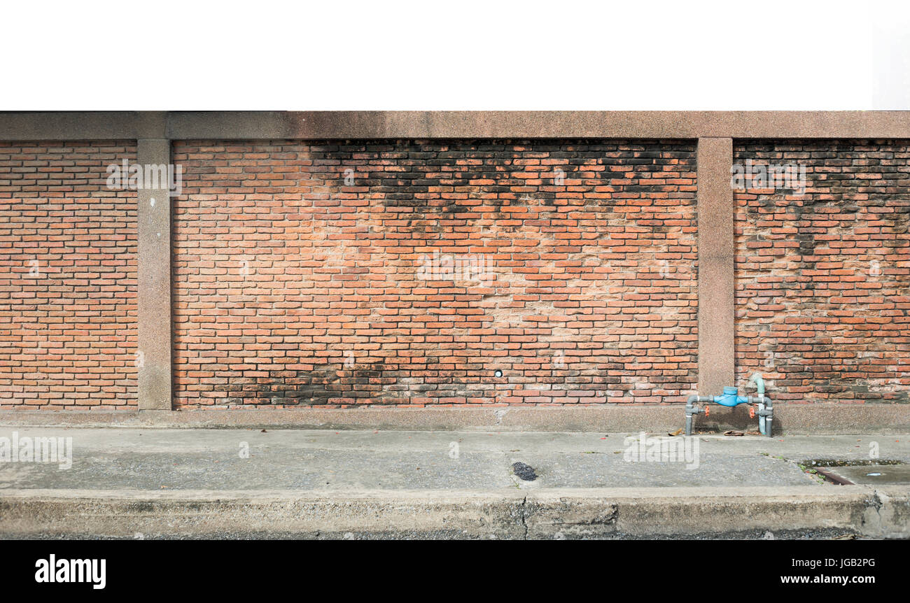 Landscape Brick Wall And Walking Street For Background Stock Photo