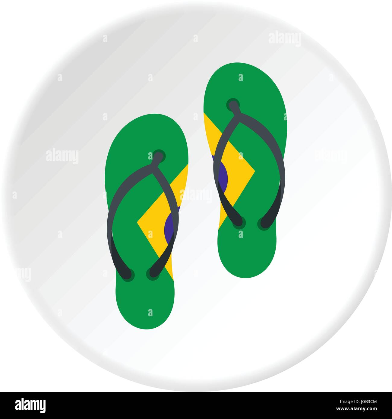ba25792fb124 Flip flops in Brazil flag colors icon circle - Stock Vector