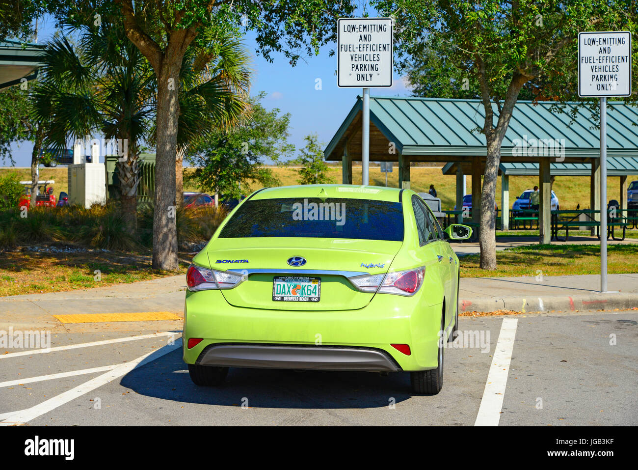 Low emitting and fuel efficient vehicles parking area - Stock Image
