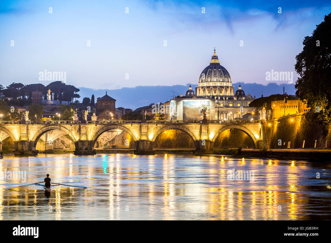 Beautiful view of Tiber river and Vatican dome, Rome, Italy - Stock Image