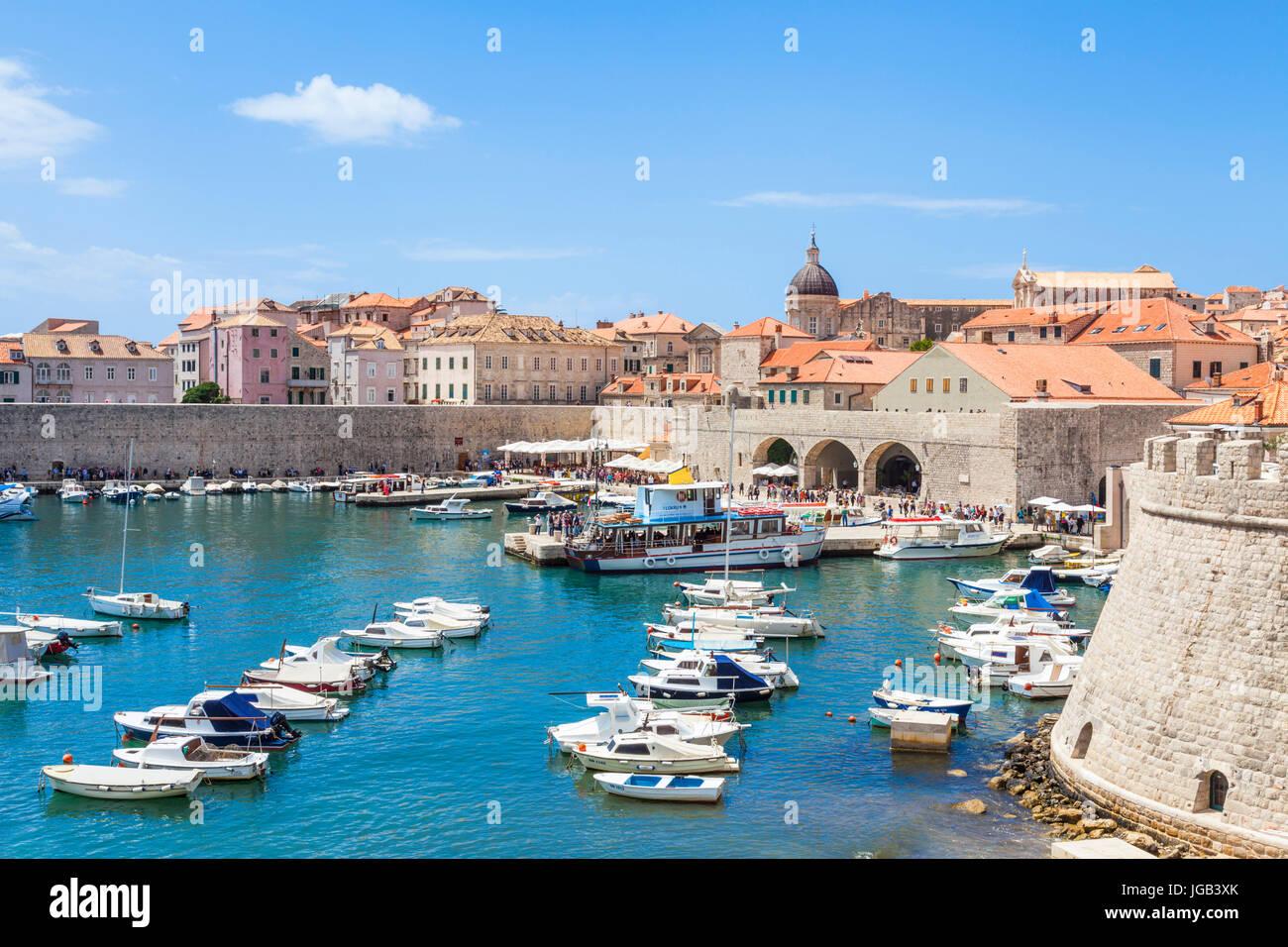 Croatia Dubrovnik Croatia Dalmatian coast Dubrovnik old Town old port porporela waterfront Dubrovnik harbour yachts - Stock Image