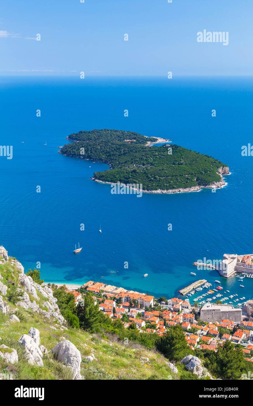 Croatia Dubrovnik Croatia Dalmatian coast aerial view Lokrum island  and Dubrovnik harbour  Adriatic sea from Mount - Stock Image
