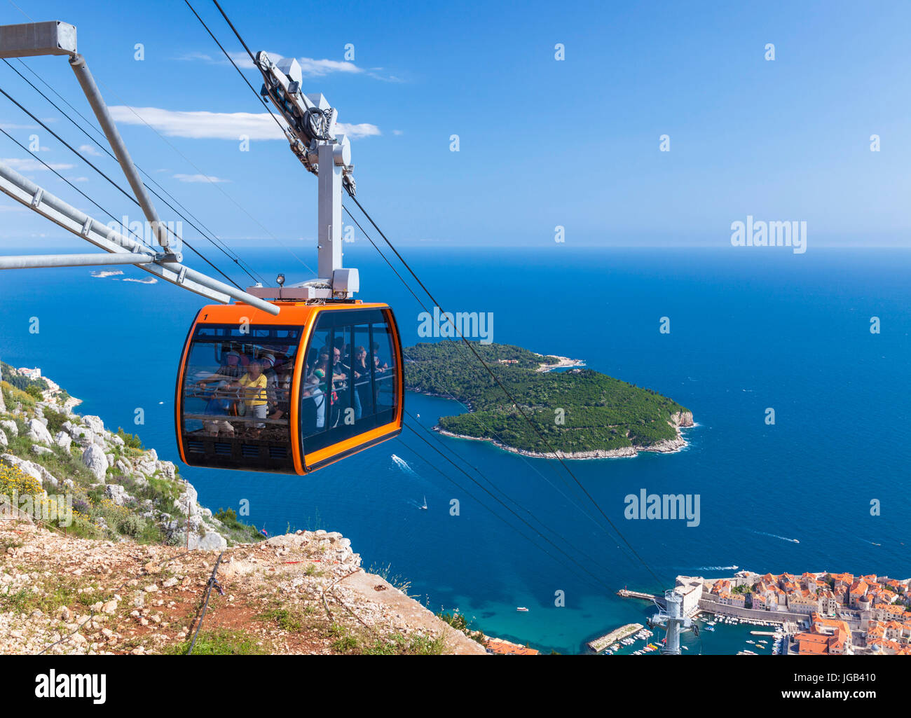 Dubrovnik Croatia Dalmatian coast dubrovnik Tourists in Cable car up Mount Srd Dubrovnik Old Town aerial view Lokrum - Stock Image