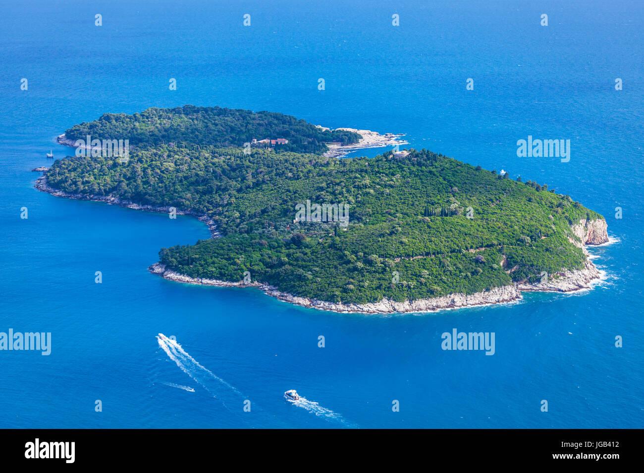 Croatia Dubrovnik Croatia Dalmatian coast aerial view of ferries going to  Lokrum island dubrovnik  Adriatic sea - Stock Image