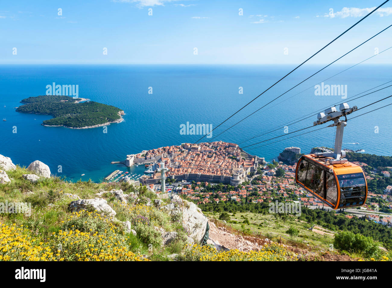 Dubrovnik Croatia Dalmatian coast dubrovnik Cable car up Mount Srd Dubrovnik Old Town aerial view Lokrum island - Stock Image