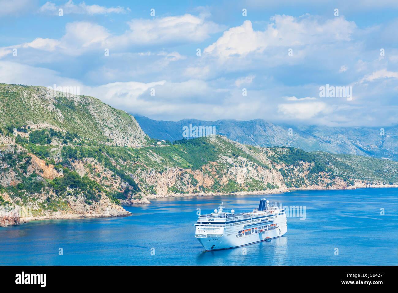 Croatia Dubrovnik Croatia Dalmatian coast cruise ship sailing down the dalmatian coastline towards dubrovnik adriatic - Stock Image