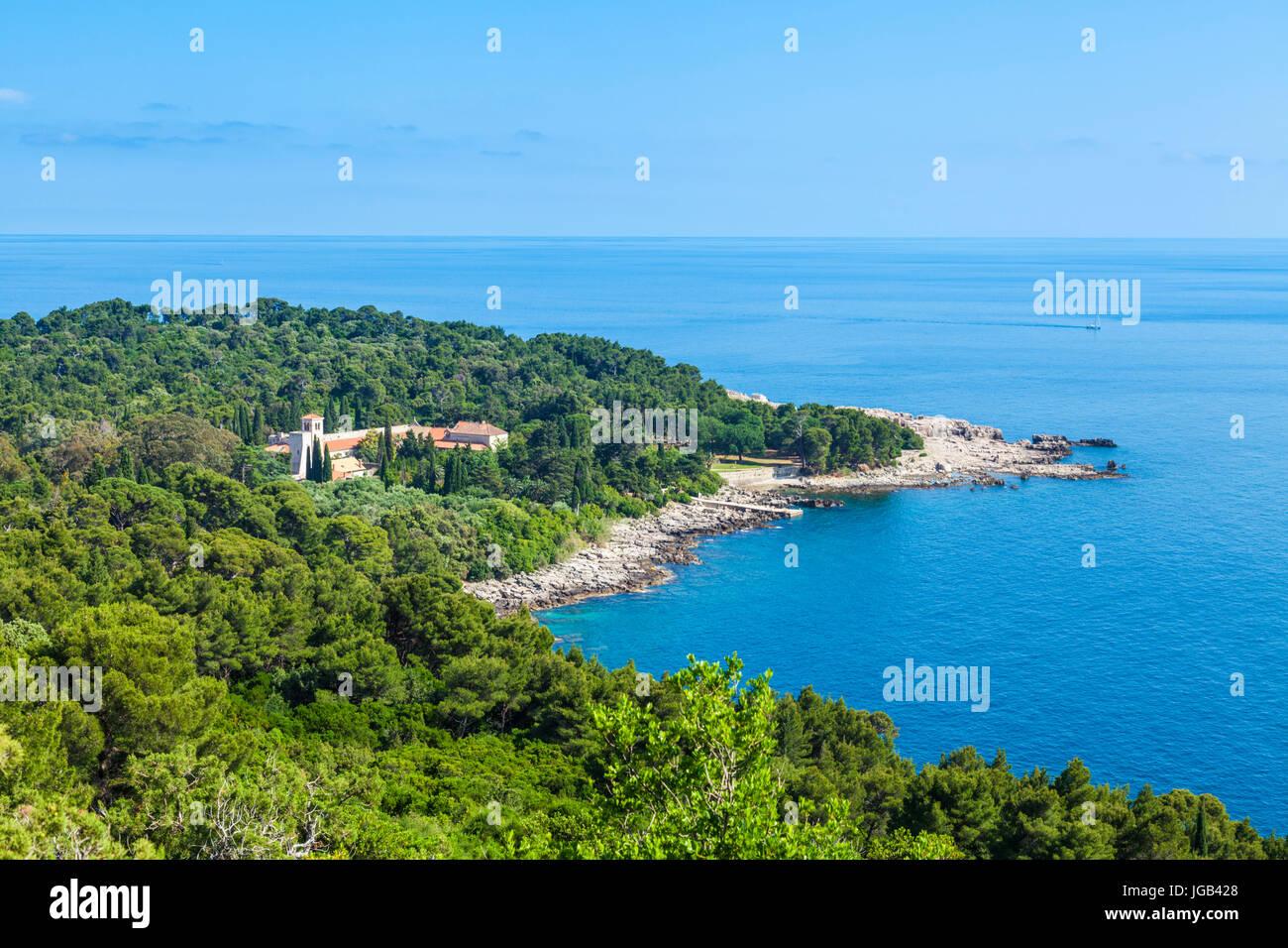 Croatia Dubrovnik Croatia Dalmatian coast aerial view of  Lokrum island Dubrovnik Benedictine Monastery Of St Mary - Stock Image