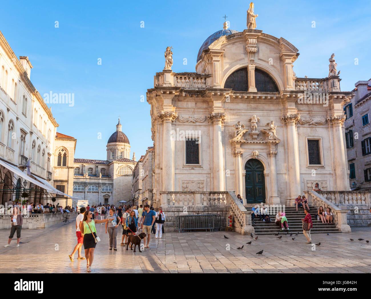 Croatia Dubrovnik Croatia Dalmatian coast Luza square old town square church of st blaise church patron saint of - Stock Image
