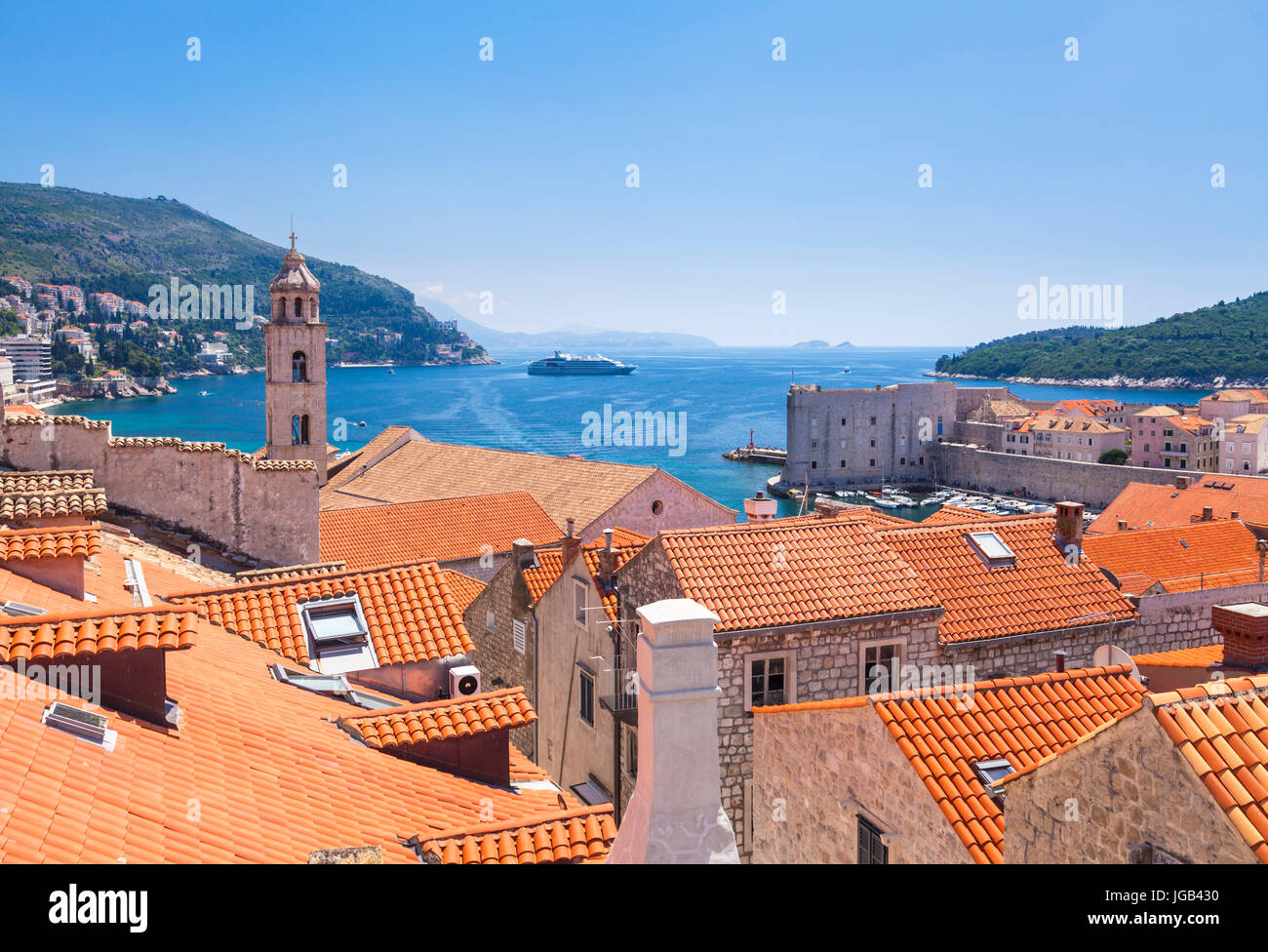 Croatia Dubrovnik Croatia Dalmatian coast view from city walls of the bell tower red tiles rooftops old town dubrovnik - Stock Image