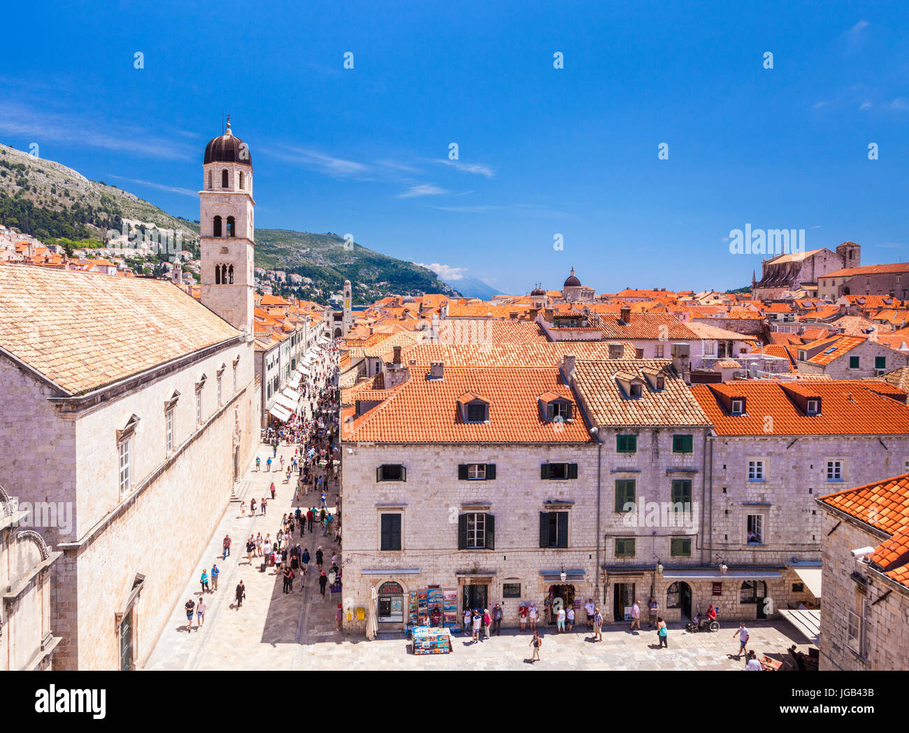 Croatia Dubrovnik Croatia view from city walls of the stradun main street dubrovnik placa dubrovnik stradun dubrovnik - Stock Image