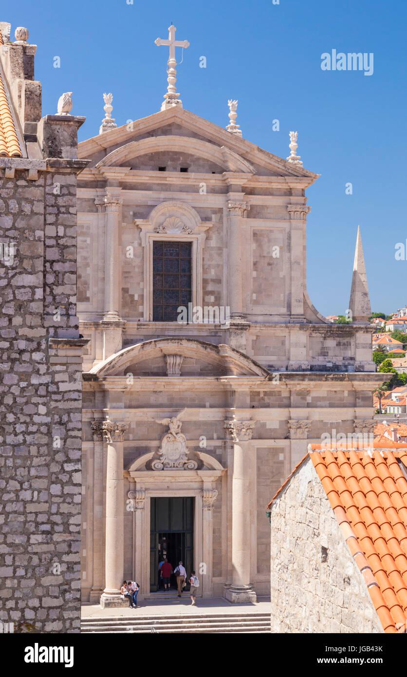 Dubrovnik Croatia Dubrovnik Cathedral- treasury church seen from city walls Dubrovnik Old Town Dubrovnik Dalmatian - Stock Image