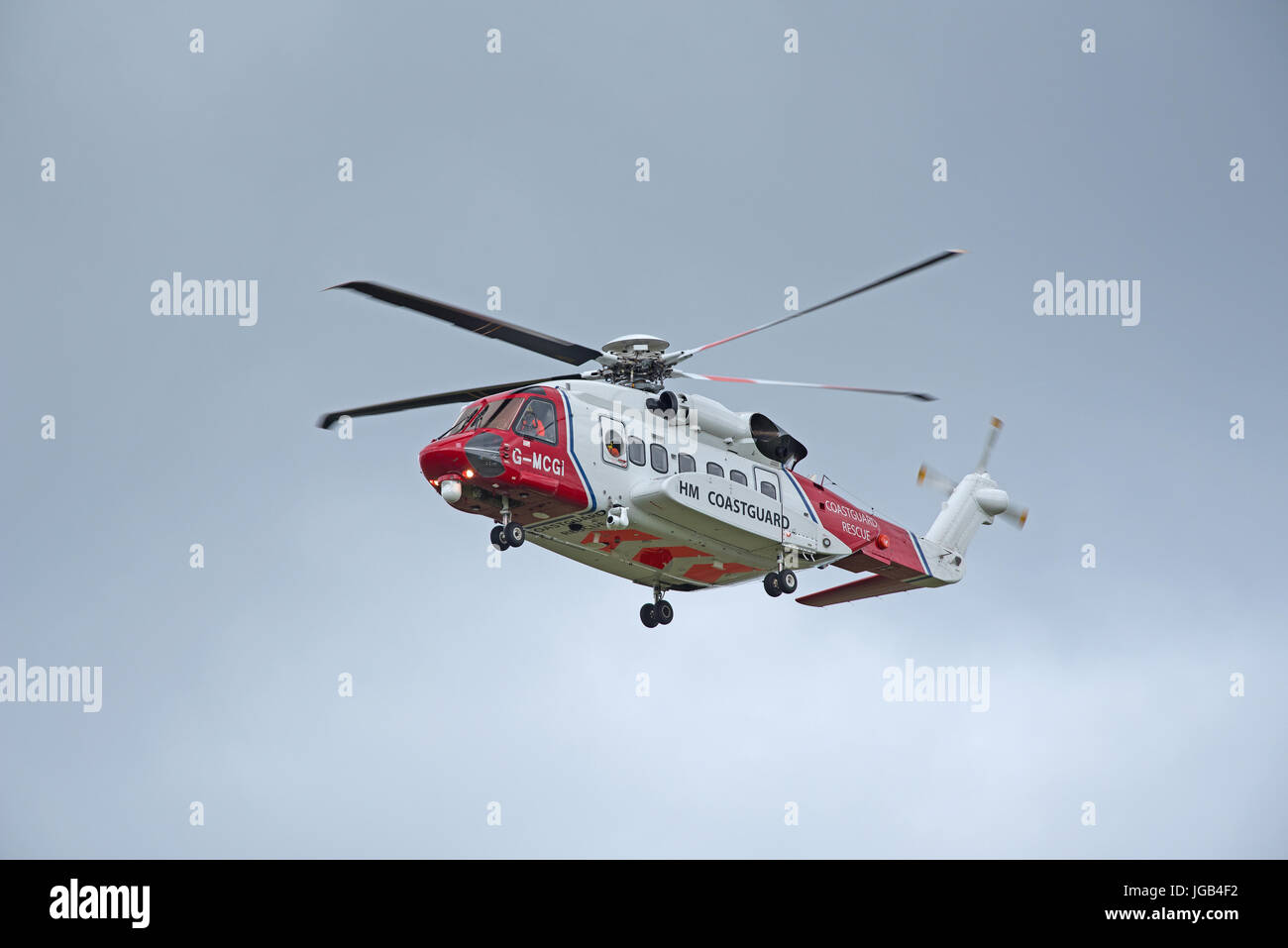 G-MCGF one of two maritime and search and rescue S-92 Helicopters based at Inverness to cover any SAR requirements - Stock Image