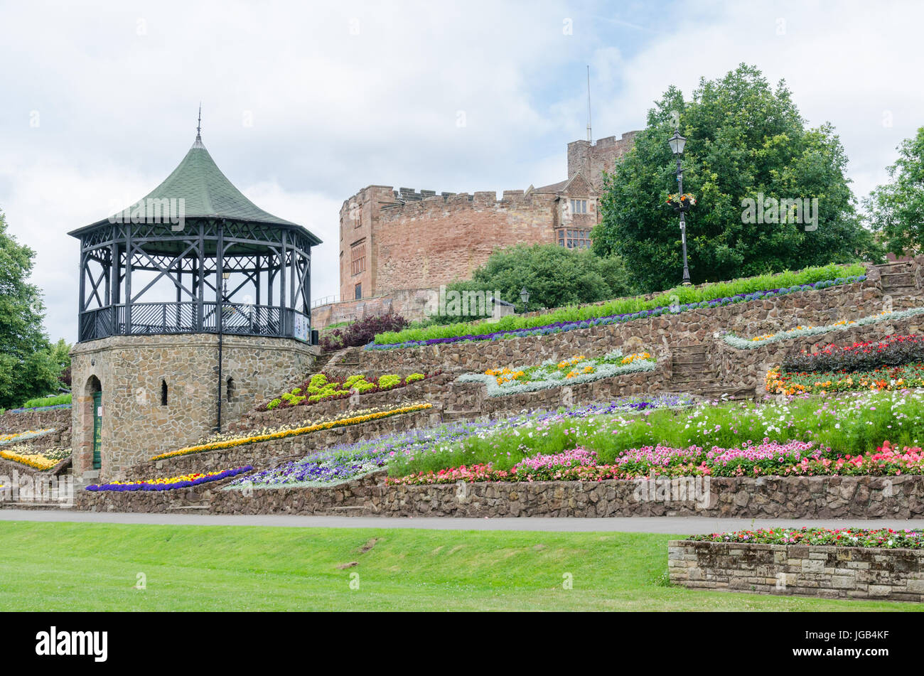 Tamworth Castle and the Castle Gardens - Stock Image