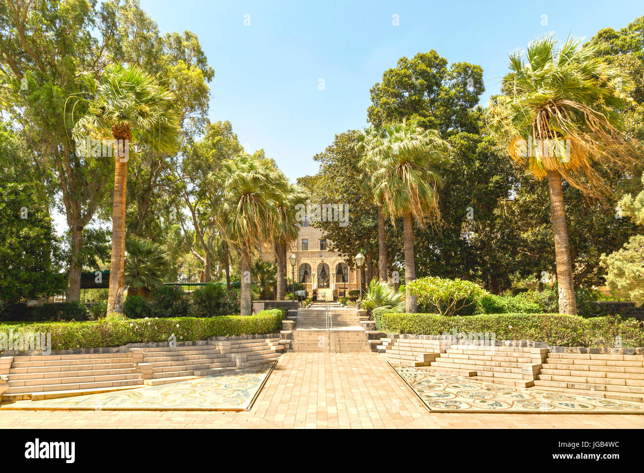Israel, Mount of Beatitudes, Kinnerot: Cloister Gardens of Beatitudes church at the Sea of Galilee. Stock Photo