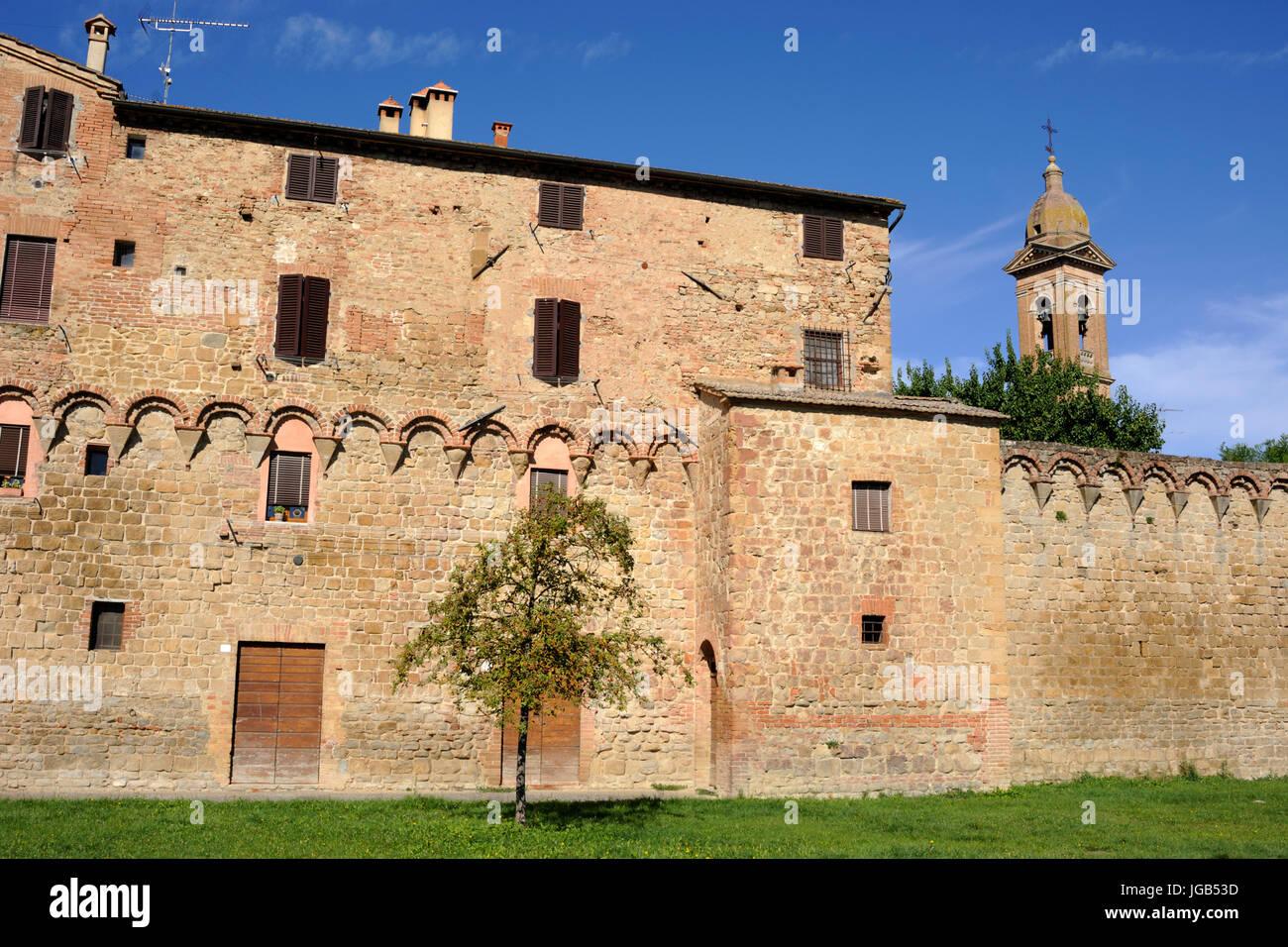 italy, tuscany, buonconvento, walls - Stock Image