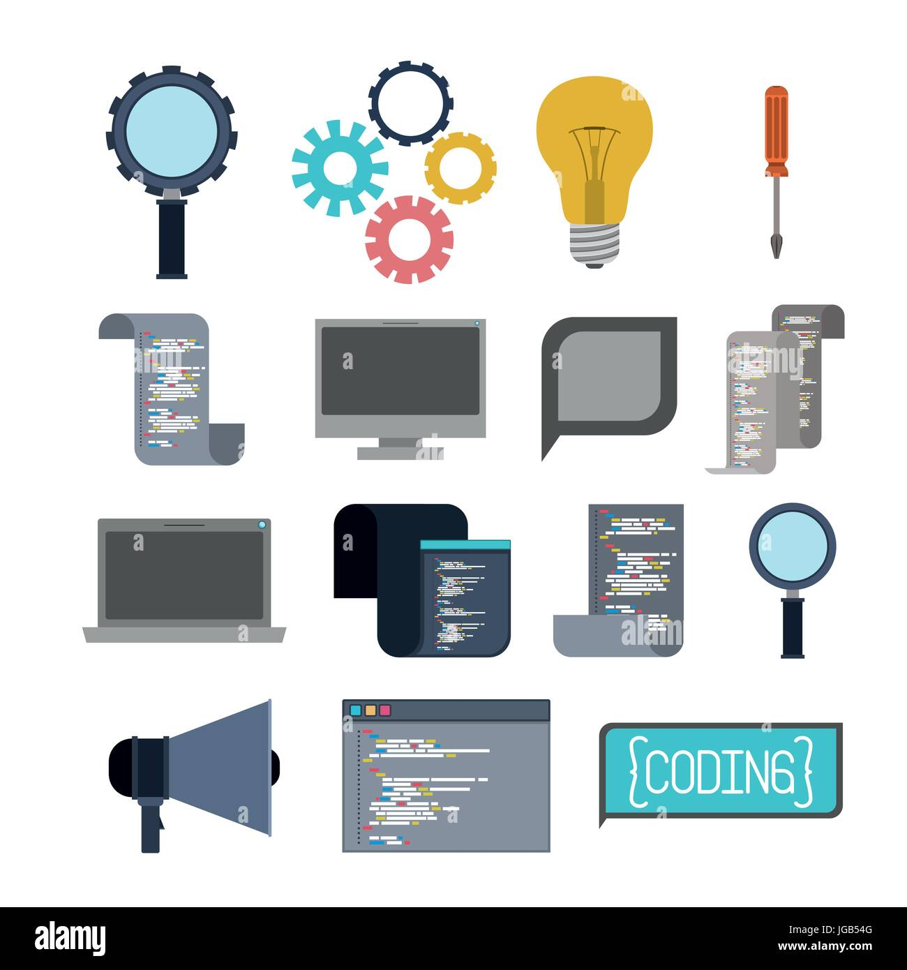colorful set of icons elements of programming codes language - Stock Image