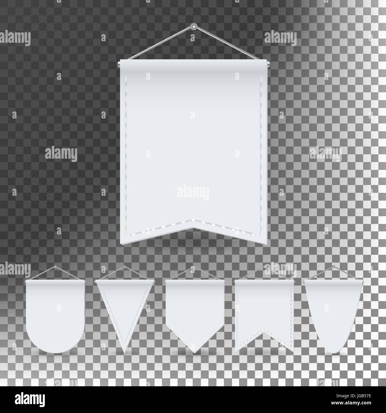 White Pennant Template Set Vector Empty 3d Pennants Banners