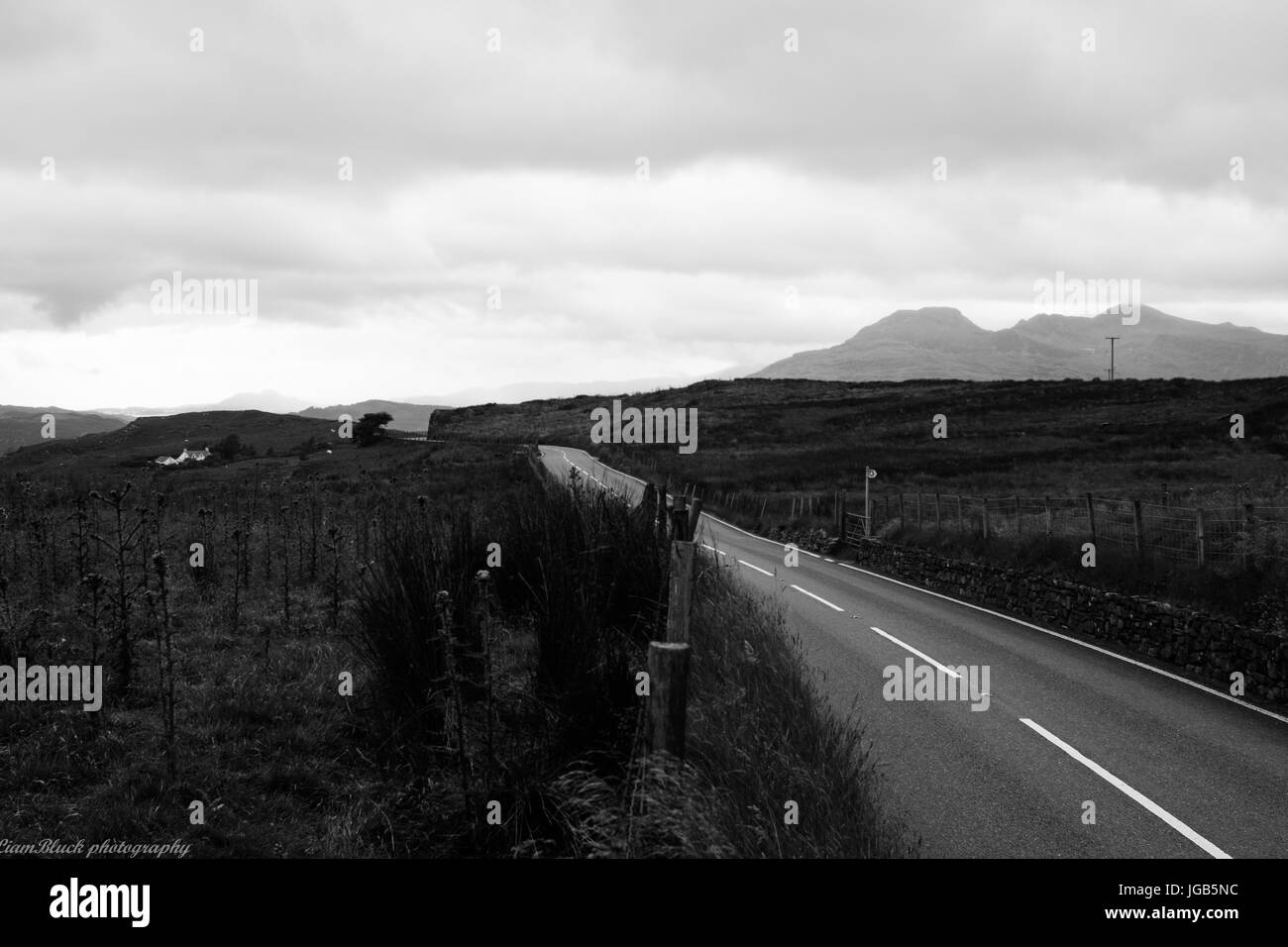 black and white welsh landscape photography - Stock Image