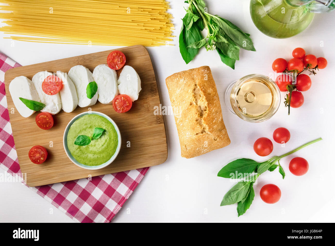 Assortment of Italian foods from above with copyspace - Stock Image
