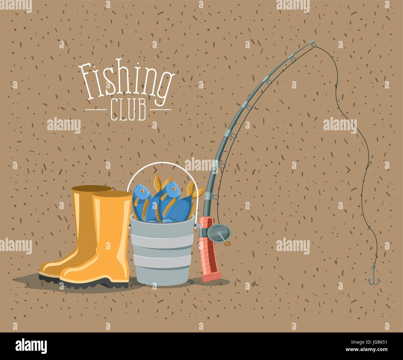 color background with sparkle of elements for fishing club - Stock Image