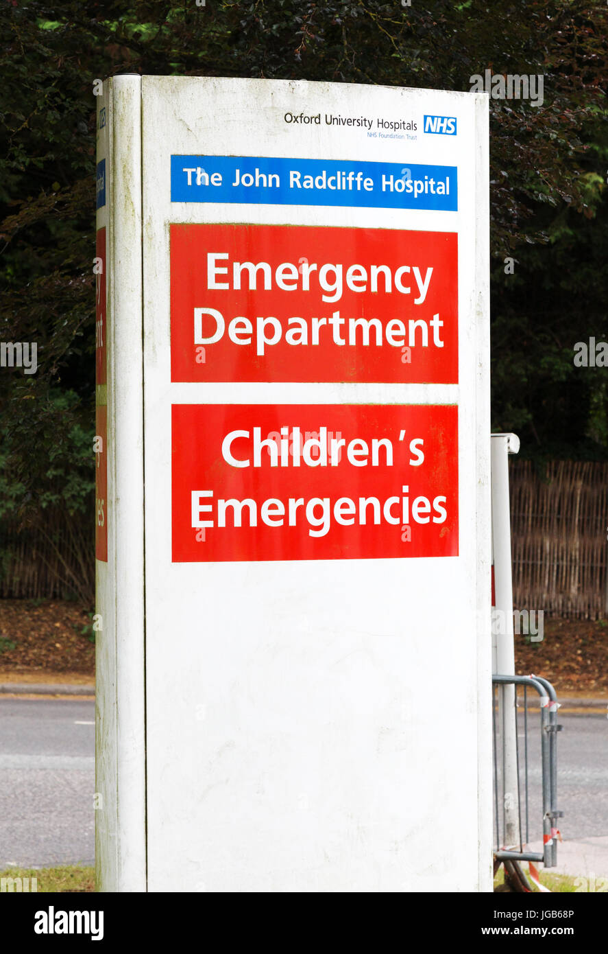 Accident and Emergency UK - sign at the John Radcliffe NHS Hospital, Oxford England UK - Stock Image