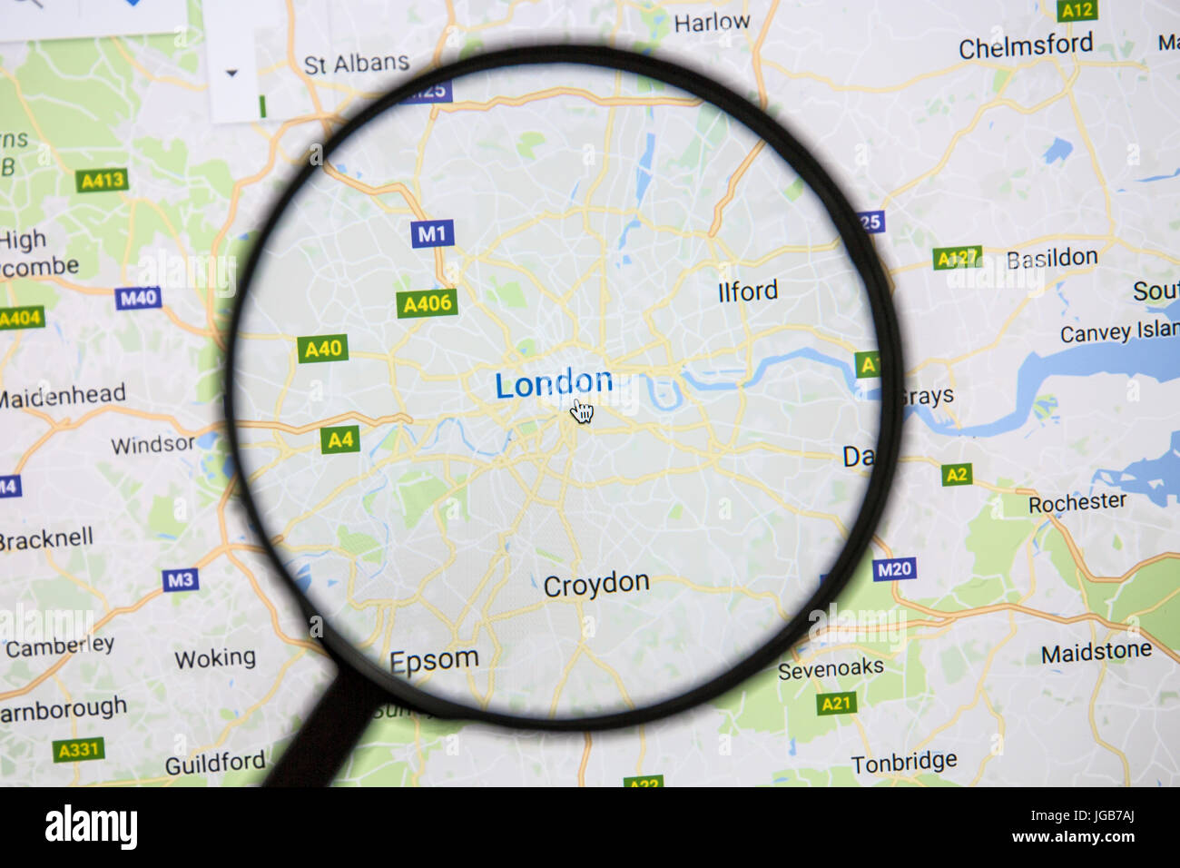 Map Of London On Google Maps Under A Magnifying Glass London Is
