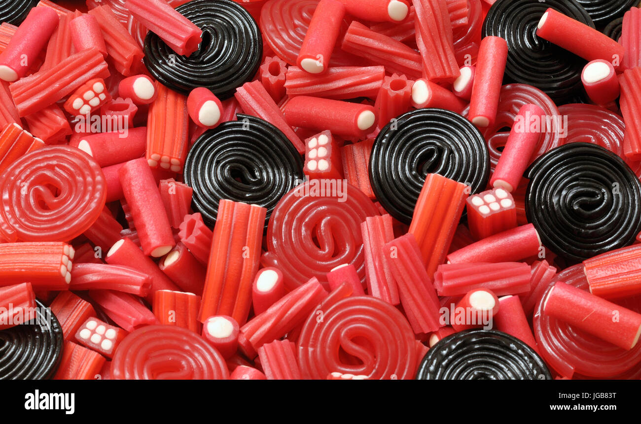 Licorice candy and mix - Stock Image