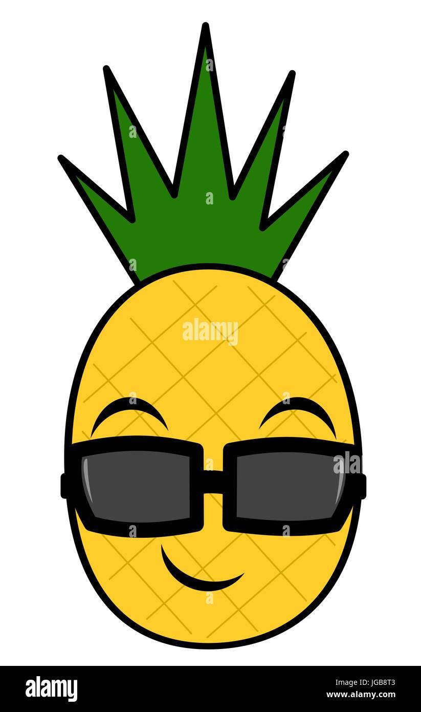 cute cartoon pineapple with sunglasses vector illustration ...