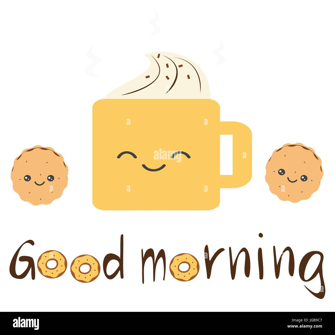 cute vector good morning quote with cartoon cookies, coffee ...
