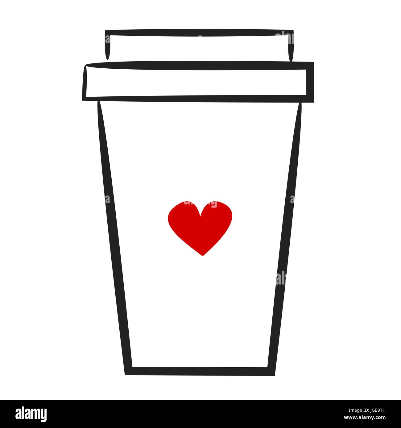 cute hand drawn linear vector illustration coffee paper cup logo