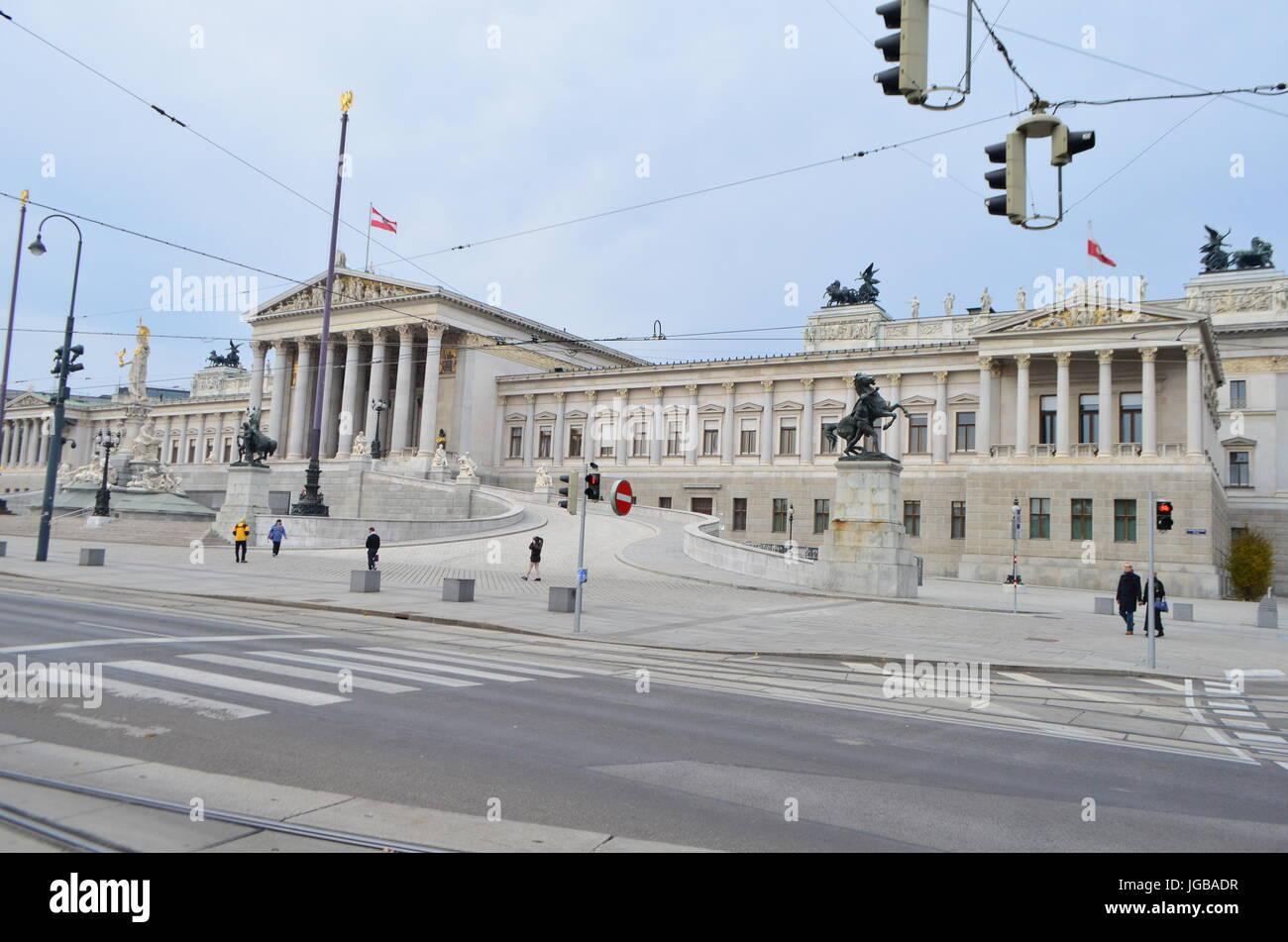 Street View of Austrian Parliament Building in Vienna, Austria Stock Photo
