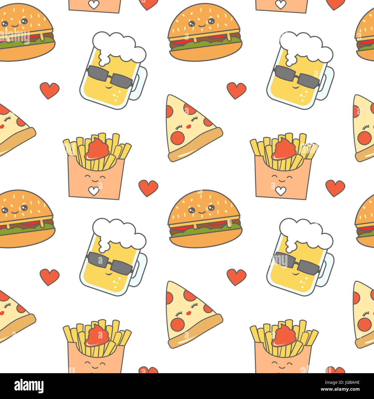 Cute Cartoon Fast Food Seamless Vector Pattern Background Stock