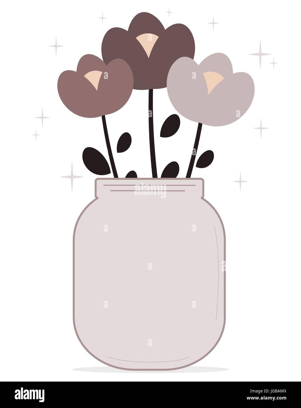 cute cartoon flowers in a lovely purple jar vector illustration Stock Vector