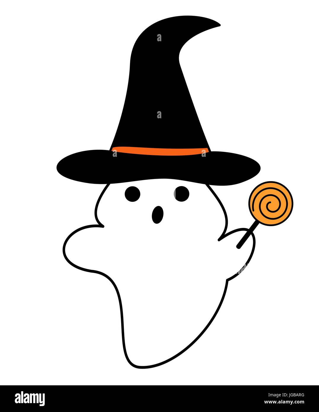 cute cartoon ghost with witch hat vector illustration