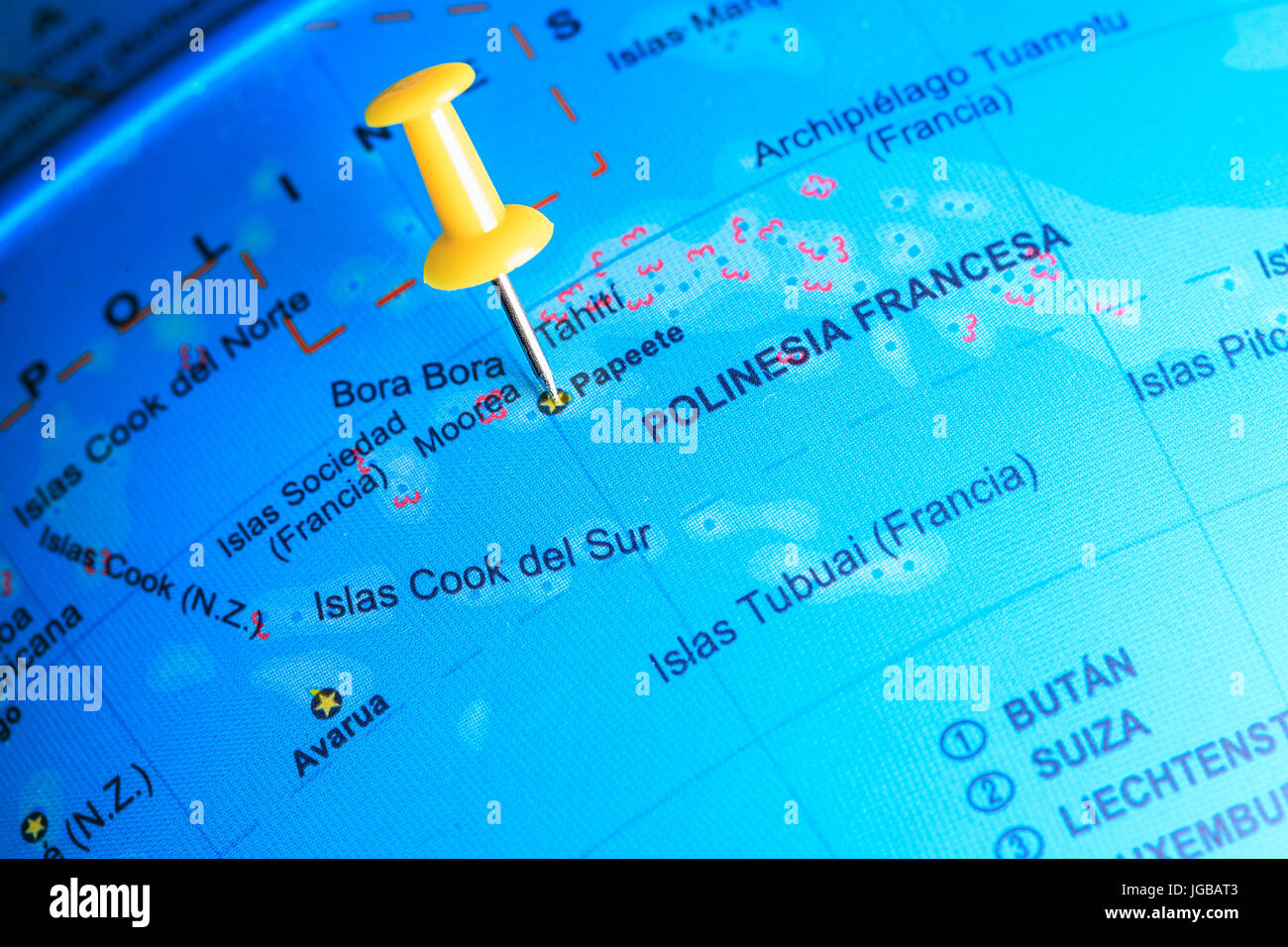 Bora Bora Pinned On A Map Of Oceania Stock Photo 147767427 Alamy
