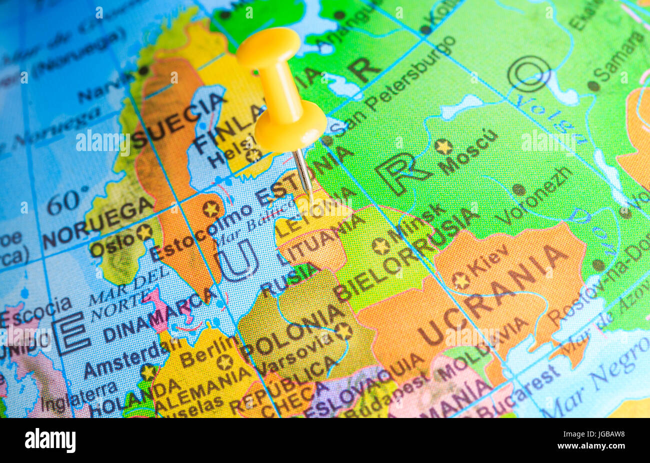 Letonia pinned on a map of Europe - Stock Image