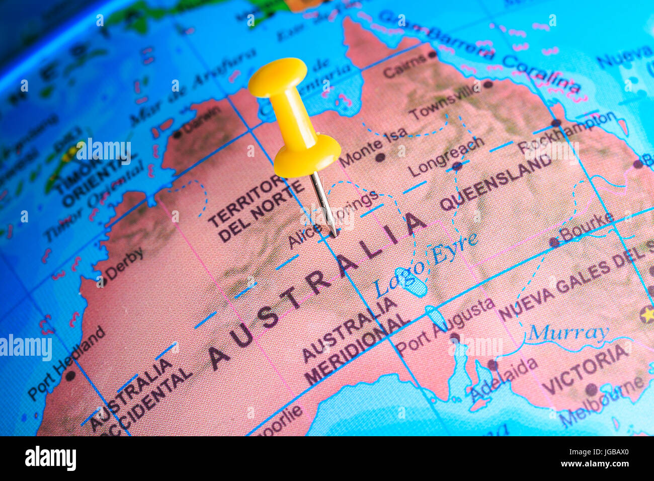 Australia pinned on a map of  Oceania - Stock Image
