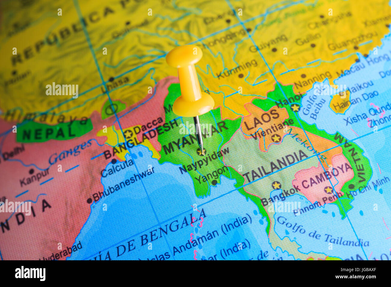 Myanmar pinned on a map of Asia - Stock Image