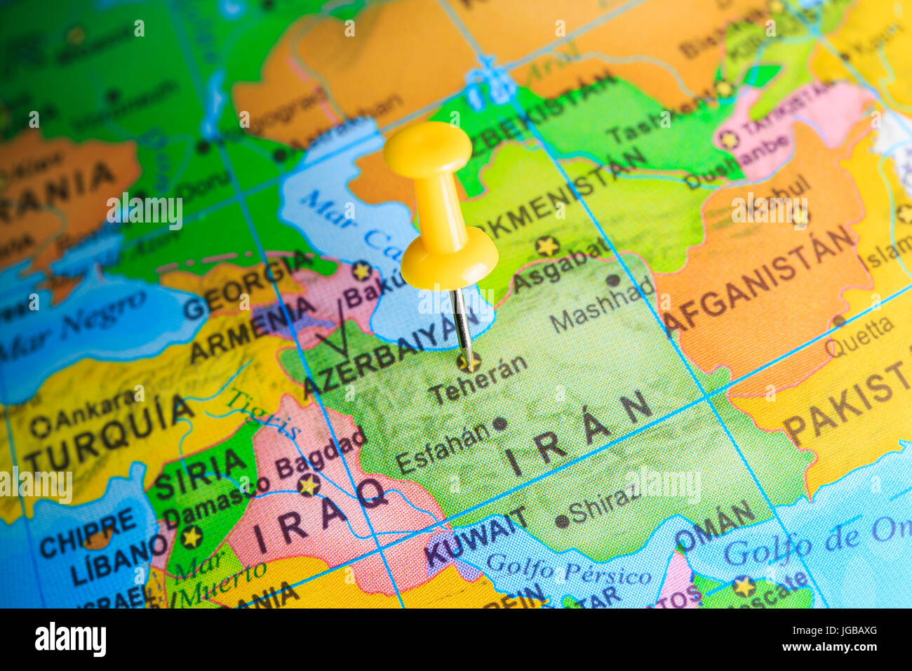 Iran pinned on a map of Asia - Stock Image