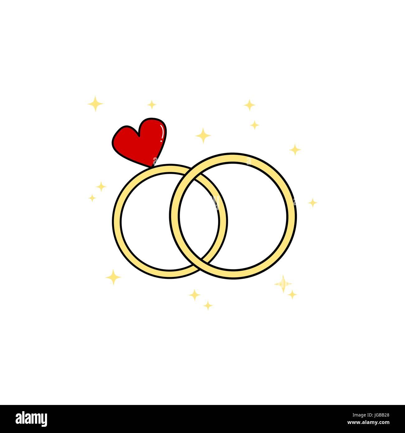 cute cartoon wedding day rings vector illustration stock vector art