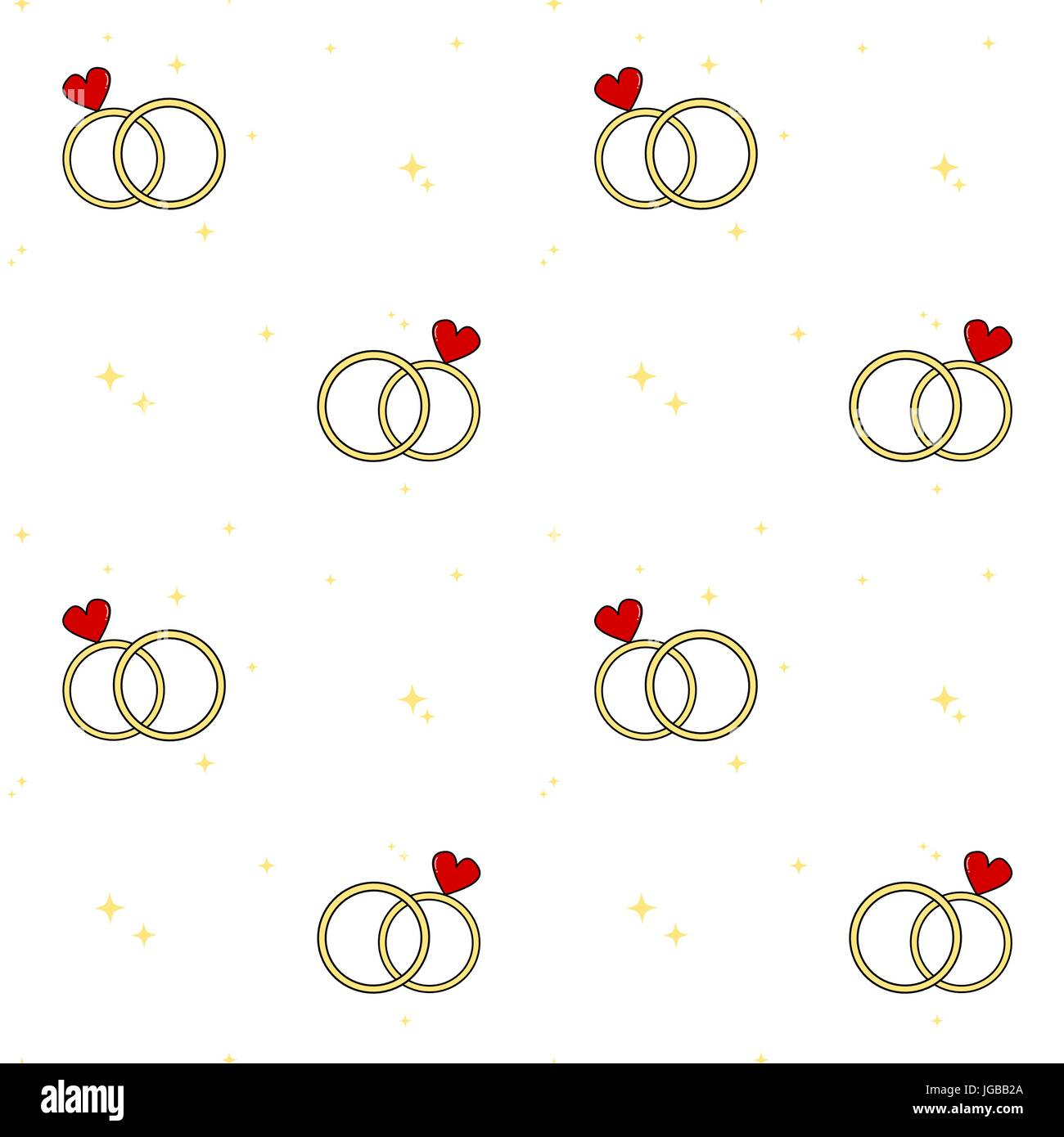 Cute Cartoon Wedding Day Rings Seamless Vector Pattern Background Stock Vector Image Art Alamy