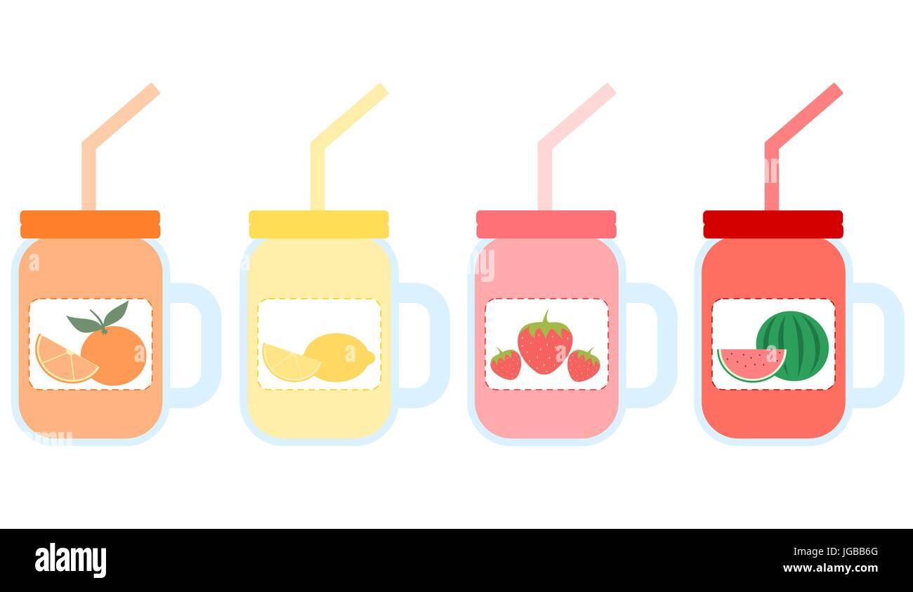 Fruit Smoothie In Mason Jar Vector Set Illustration Stock Vector Art