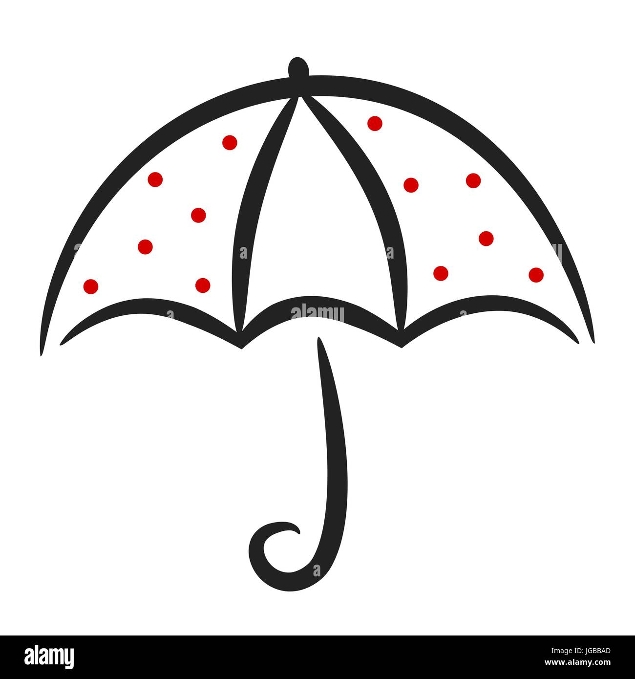 Cute Black White Red Linear Vector Umbrella With Red Dots Stock