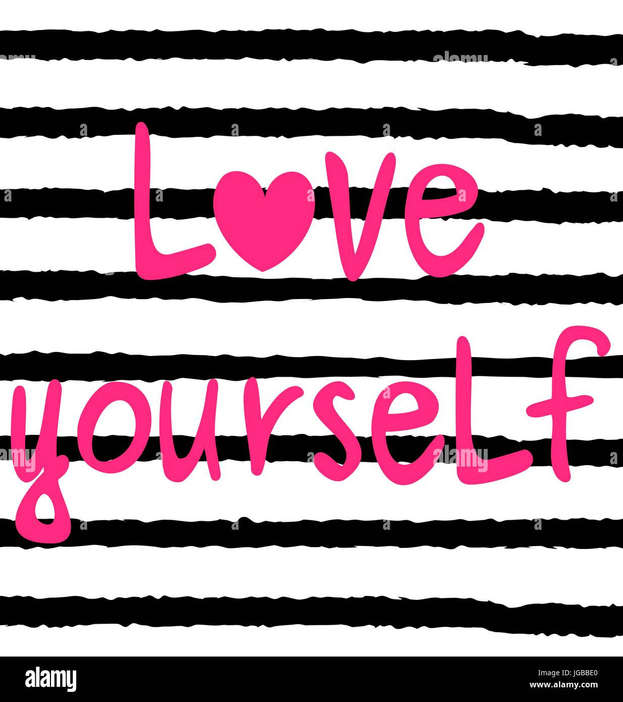 Cute Hand Drawn Pink Love Yourself Lettering Inspirational Quote Vector Card  Illustration On Striped Background
