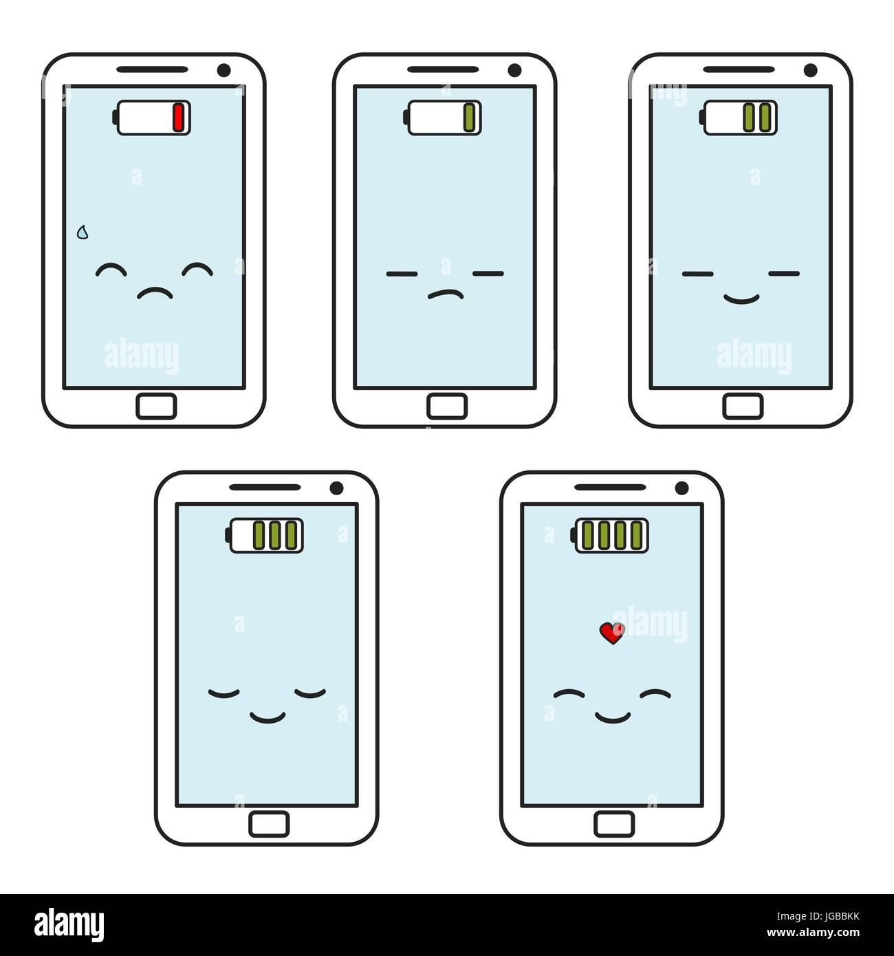 cute cartoon smartphones battery status set vector